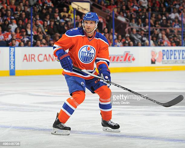 Andrej Sekera of the Edmonton Oilers skates during a game against the Calgary Flames on October 31 2015 at Rexall Place in Edmonton Alberta Canada
