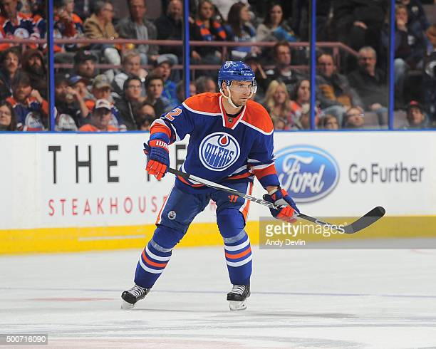 Andrej Sekera of the Edmonton Oilers skates during a game against the San Jose Shark on December 2015 at Rexall Place in Edmonton Alberta Canada