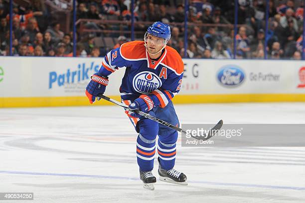 Andrej Sekera of the Edmonton Oilers skates during a preseason game against the Calgary Flames on September 21 2015 at Rexall Place in Edmonton...