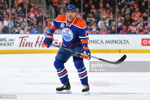 Andrej Sekera of the Edmonton Oilers skates during the game against the Vancouver Canucks on April 9 2017 at Rogers Place in Edmonton Alberta Canada