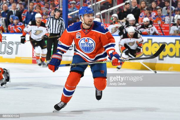 Andrej Sekera of the Edmonton Oilers skates in Game Four of the Western Conference Second Round during the 2017 NHL Stanley Cup Playoffs against the...