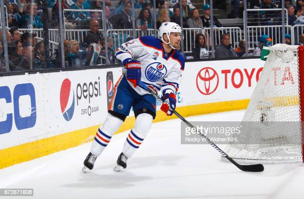 Andrej Sekera of the Edmonton Oilers skates with the puck against the San Jose Sharks in Game Six of the Western Conference First Round during the...
