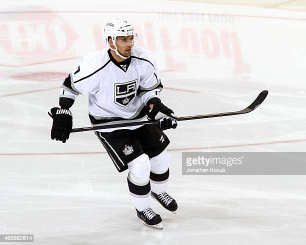 Andrej Sekera of the Los Angeles Kings follows the play down the ice during second period action against the Winnipeg Jets on March 1 2015 at the MTS...