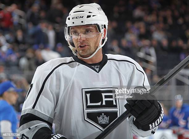 Andrej Sekera of the Los Angeles Kings looks on during a break in the action against the New York Rangers at Madison Square Garden on March 24 2015...