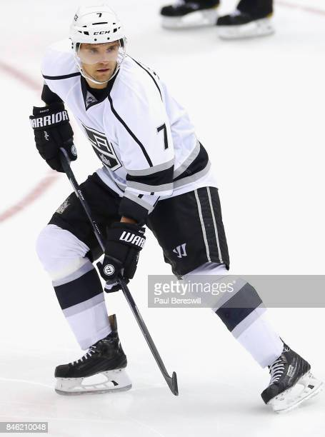 Andrej Sekera of the Los Angeles Kings plays in the game against the New York Islanders at Barclays Center on March 26 2015 in Brooklyn borough of...