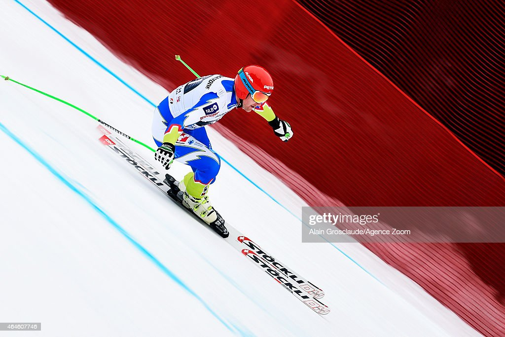 Andrej Sporn of Slovenia competes during the Audi FIS Alpine Ski World Cup Men's Downhill Training on February 27, 2015 in Garmisch-Partenkirchen, Germany.