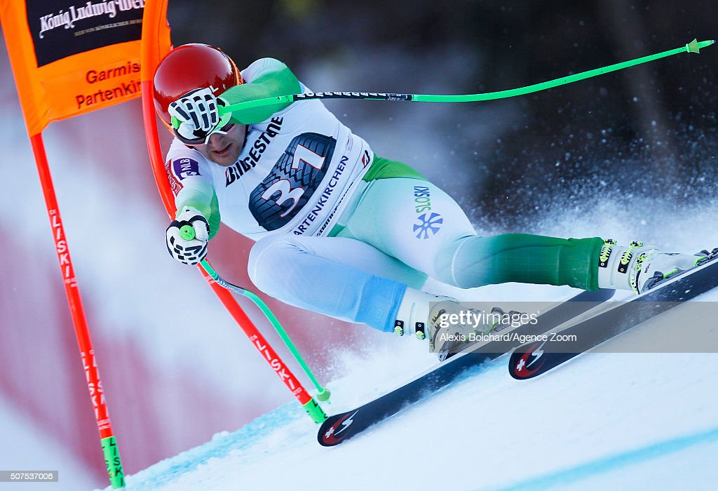 Andrej Sporn of Slovenia competes during the Audi FIS Alpine Ski World Cup Men's Downhill on January 30, 2016 in Garmisch-Partenkirchen, Germany.