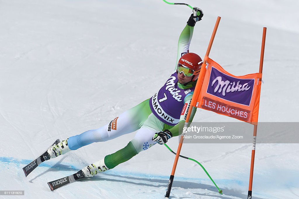 Andrej Sporn of Slovenia competes during the Audi FIS Alpine Ski World Cup Men's Downhill Training on February 18, 2016 in Chamonix, France.