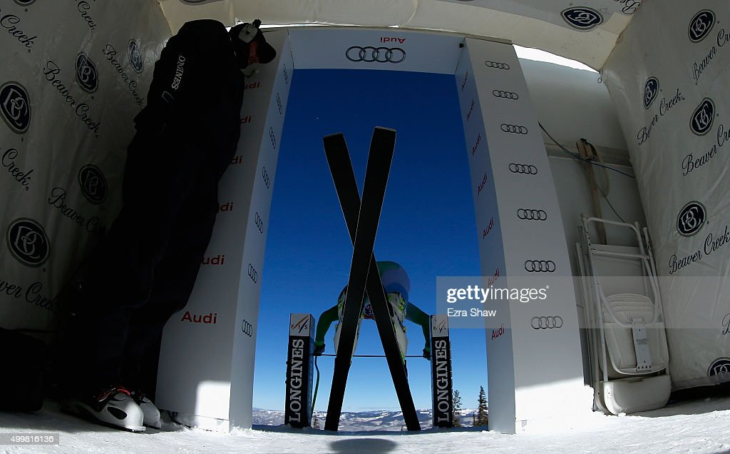 Andrej Sporn of Slovenia prepares for the start of a downhill training run for the Audi FIS Ski World Cup on the Birds of Prey on December 3, 2015 in Beaver Creek, Colorado.