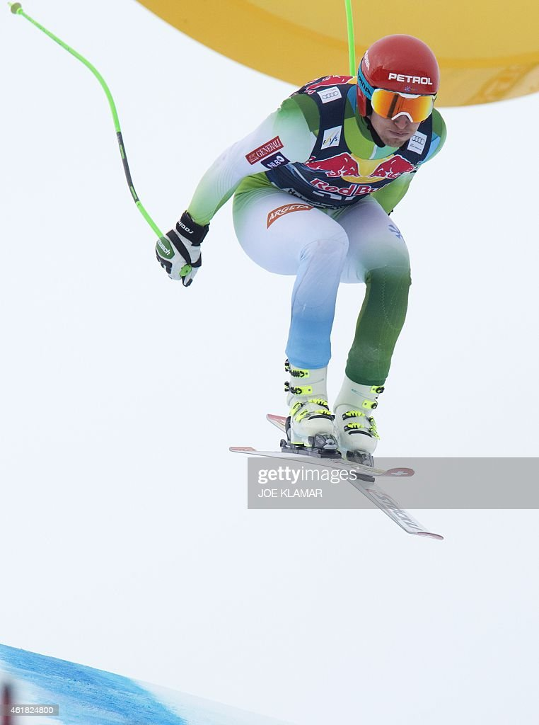 Andrej Sporn of Slovenia races down the famous Hahnenkamm course during the men's downhill training of the FIS Alpine Skiing World Cup in Kitzbuehel, Austria, on January 20, 2015.