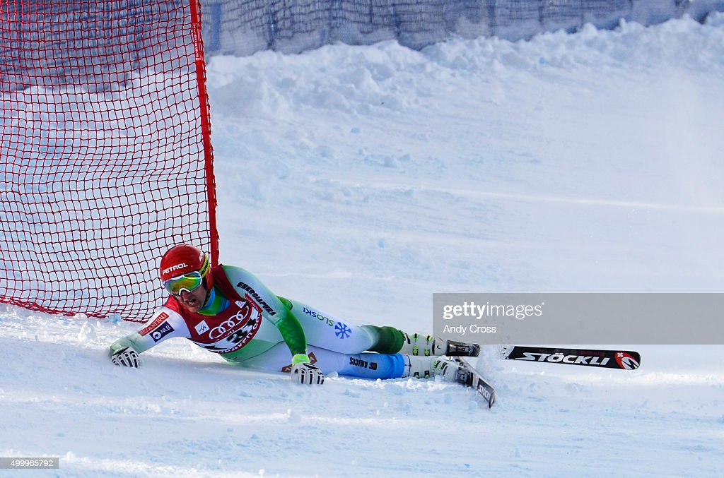 Andrej Sporn, SLO, looks up course in frustration after losing control and sliding down into a catch fence during the 2015 Audi Birds of Prey Men's World Cup downhill at Beaver Creek December 04, 2015. It appeared that Sporn was not injured but, was scored as a DNF. Photo by Andy Cross/The Denver Post via Getty Images