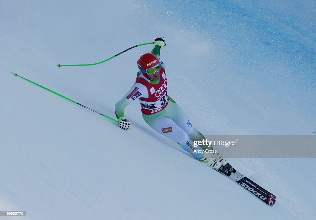 Andrej Sporn, SLO, lost control and slipped down into a catch fence during the 2015 Audi Birds of Prey Men's World Cup downhill at Beaver Creek December 04, 2015. It appeared that Sporn was not injured but, was scored as a DNF. Photo by Andy Cross/The Denver Post via Getty Images