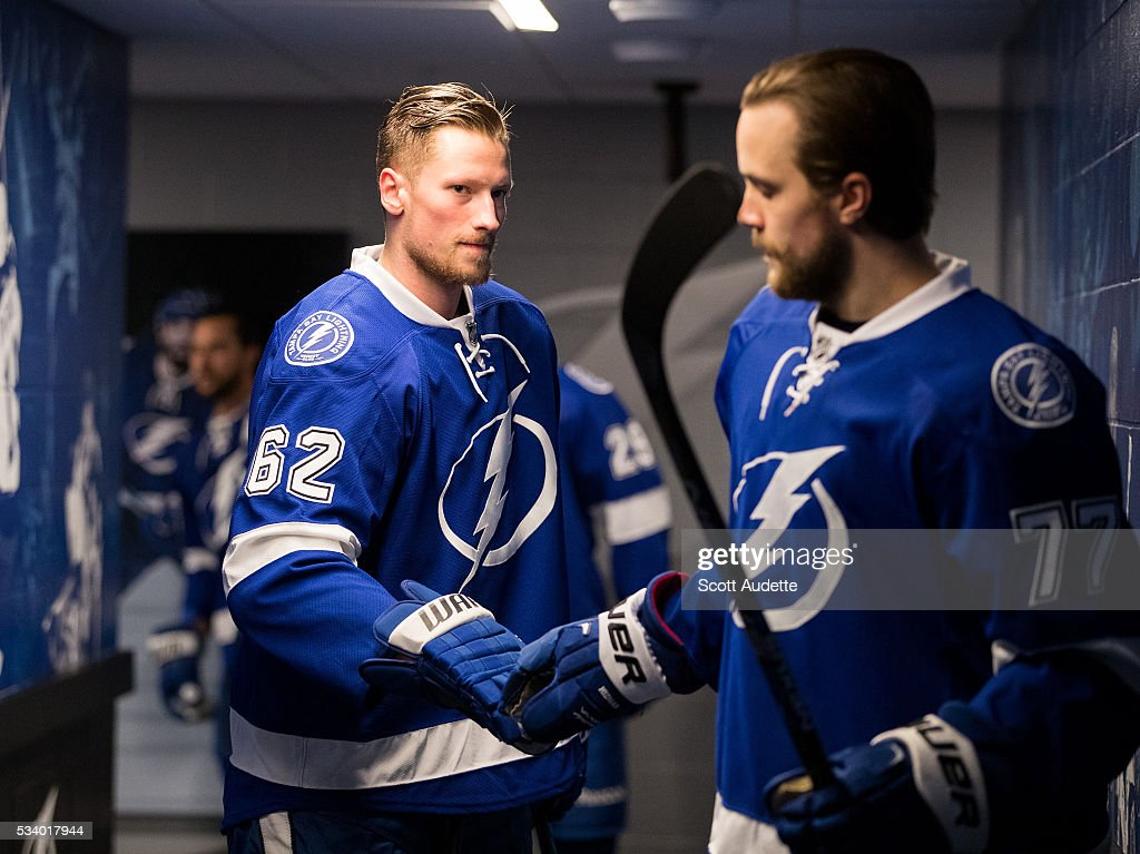 Andrej Sustr #62 and <a gi-track='captionPersonalityLinkClicked' href=/galleries/search?phrase=Victor+Hedman&family=editorial&specificpeople=4784238 ng-click='$event.stopPropagation()'>Victor Hedman</a> #77 of the Tampa Bay Lightning get ready for the game against the Pittsburgh Penguins and Game Six of the Eastern Conference Finals in the 2016 NHL Stanley Cup Playoffs at the Amalie Arena on May 24, 2016 in Tampa, Florida.