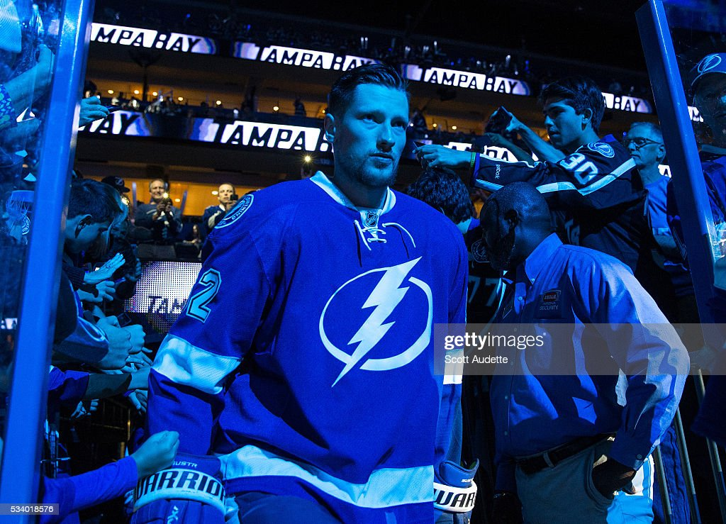 Andrej Sustr #62 of the Tampa Bay Lightning steps out to the ice against the Pittsburgh Penguins before Game Six of the Eastern Conference Finals in the 2016 NHL Stanley Cup Playoffs at the Amalie Arena on May 24, 2016 in Tampa, Florida.