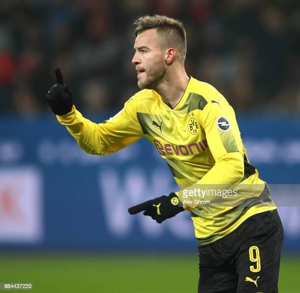 Andrej Yarmolenko of Dortmund celebrates after he scored a goal to make it 11 during the Bundesliga match between Bayer 04 Leverkusen and Borussia...