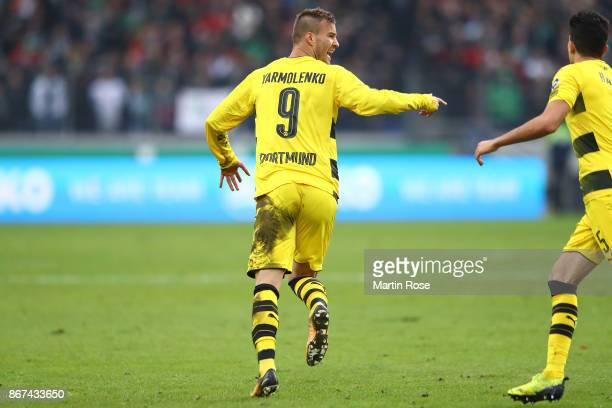 Andrej Yarmolenko of Dortmund celebrates after he scored his teams second goal to make it 22 during the Bundesliga match between Hannover 96 and...