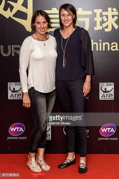 Andreja Klepac of Slovenia and Katarina Srebotnik of Slovenia arrives at the 2016 China Open Player Party at The Birds Nest on October 3 2016 in...