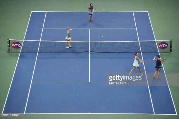 Andreja Klepac of Slovenia and Maria Jose Martinez of Spain celebrate during their Doubles Finals match against Daria Gavrilova of Australia and...