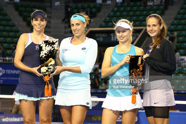 Andreja Klepac of Slovenia and Maria Jose Martinez of Spain pose with the winners trophy after defeating Daria Gavrilova of Australia and Daria...