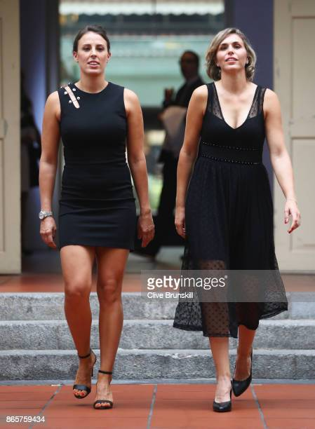Andreja Klepac of Slovenia and Maria Jose Martinez Sanchez of Spain arrive for the Doubles Draw during day 3 of the BNP Paribas WTA Finals Singapore...