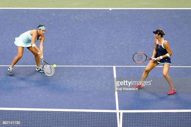 Andreja Klepac of Slovenia competes against with her doubles partner Maria Jose Martinez of Spain against Daria Gavrilova of Australia and Daria...