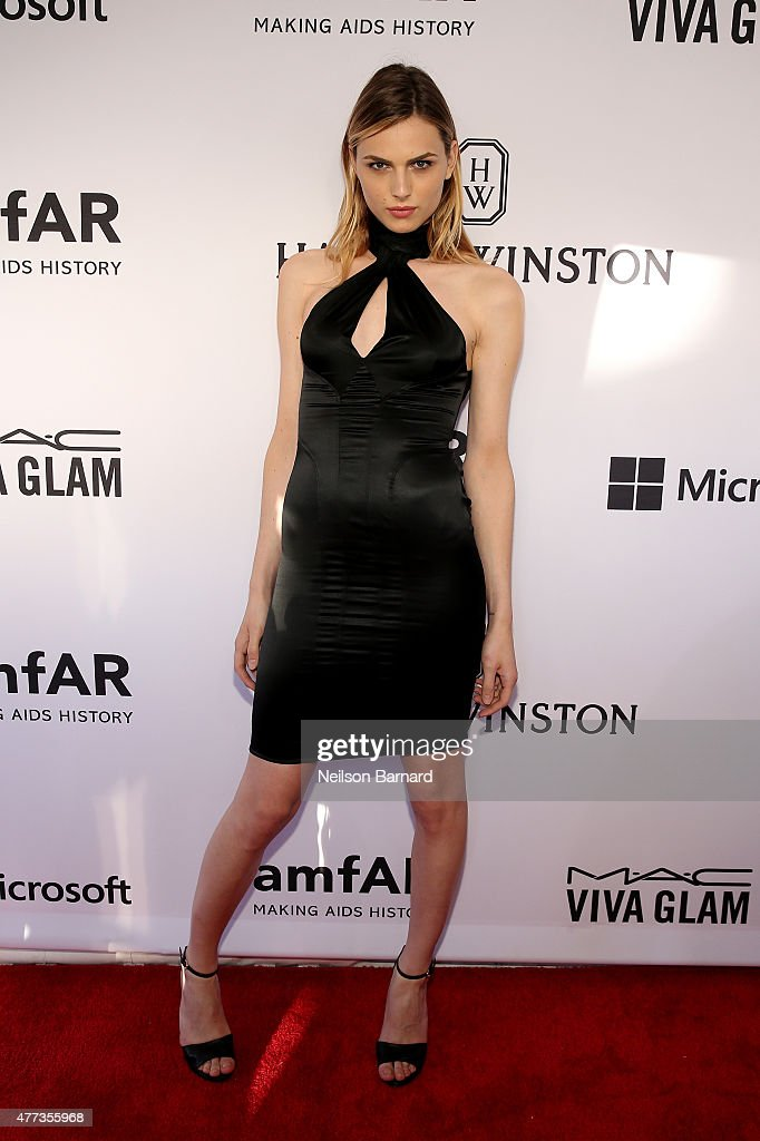 Andreja Pejic attends the 2015 amfAR Inspiration Gala New York at Spring Studios on June 16, 2015 in New York City.