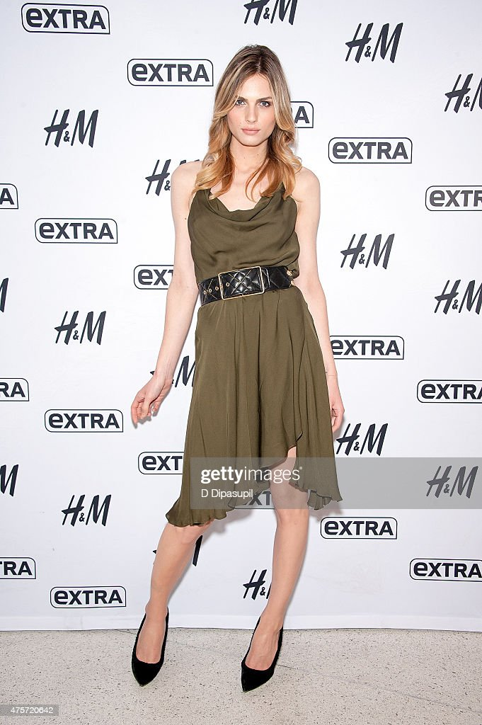 Andreja Pejic visits 'Extra' at their New York studios at H&M in Times Square on June 3, 2015 in New York City.