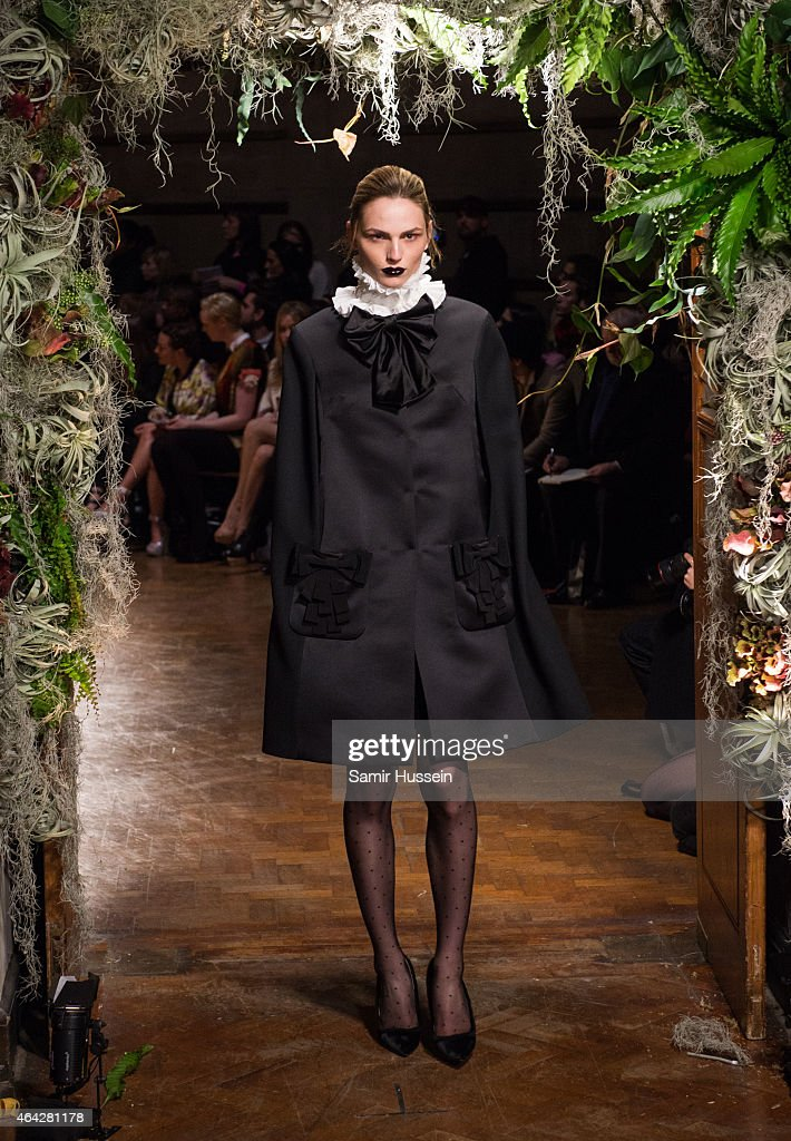 Andreja Pejic walks the runway at the Giles show during London Fashion Week Fall/Winter 2015/16 at Central Saint Martins on February 23, 2015 in London, England.