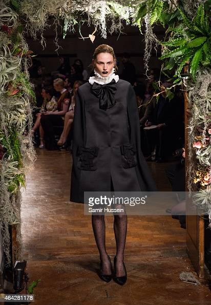 Andreja Pejic walks the runway at the Giles show during London Fashion Week Fall/Winter 2015/16 at Central Saint Martins on February 23 2015 in...