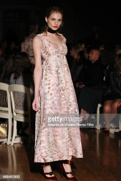 Andreja Pejic walks the runway at the GILES show during London Fashion Week Spring/Summer 2016/17 on September 21 2015 in London England