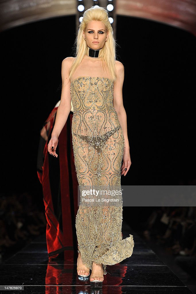 Andrej Pejic walks the runway during the Jean-Paul Gaultier Haute-Couture show as part of Paris Fashion Week Fall / Winter 2012/13 on July 4, 2012 in Paris, France.
