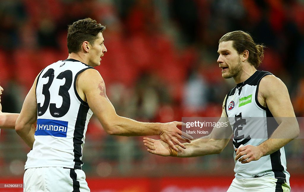 Andrejs Everitt of Carlton celebrates a goal during the round 14 AFL match between the Greater Western Sydney Giants and the Carlton Blues at Spotless Stadium on June 25, 2016 in Sydney, Australia.