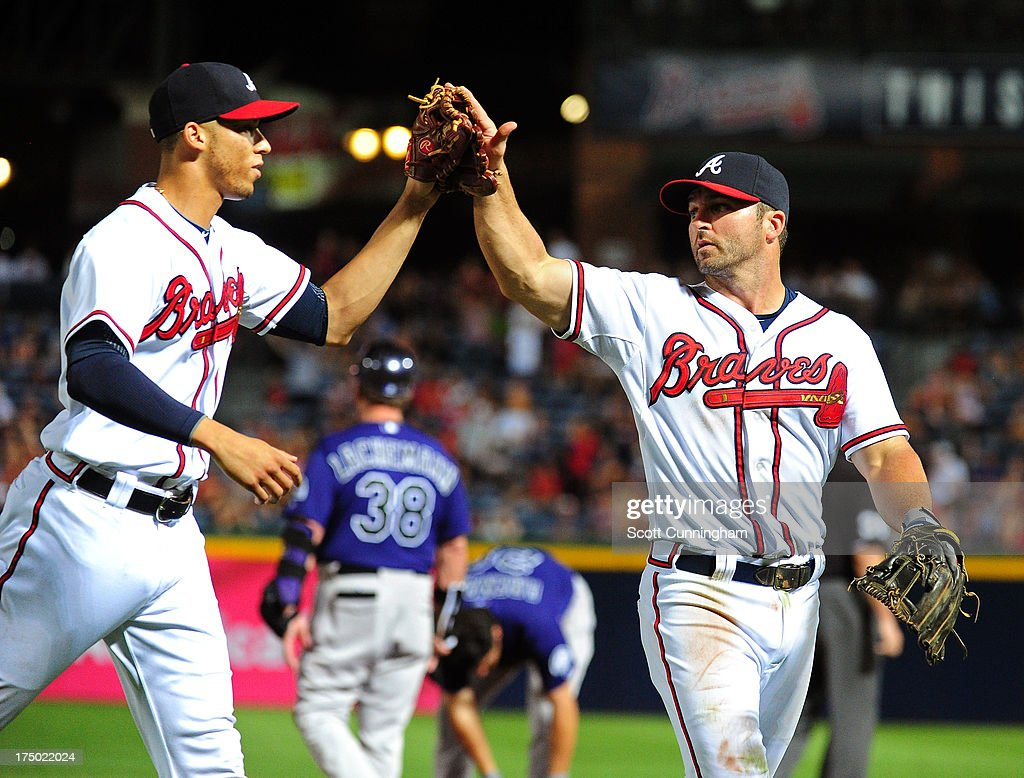 <a gi-track='captionPersonalityLinkClicked' href=/galleries/search?phrase=Andrelton+Simmons&family=editorial&specificpeople=8978424 ng-click='$event.stopPropagation()'>Andrelton Simmons</a> #19 and <a gi-track='captionPersonalityLinkClicked' href=/galleries/search?phrase=Dan+Uggla&family=editorial&specificpeople=542208 ng-click='$event.stopPropagation()'>Dan Uggla</a> #26 of the Atlanta Braves (L-R) celebrate after turning an eighth inning double play against the Colorado Rockies at Turner Field on July 29, 2013 in Atlanta, Georgia.