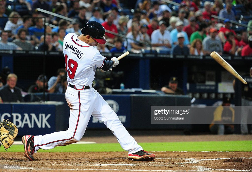 <a gi-track='captionPersonalityLinkClicked' href=/galleries/search?phrase=Andrelton+Simmons&family=editorial&specificpeople=8978424 ng-click='$event.stopPropagation()'>Andrelton Simmons</a> #19 of the Atlanta Braves breaks his bat while hitting against the Pittsburgh Pirates at Turner Field on June 4, 2013 in Atlanta, Georgia.