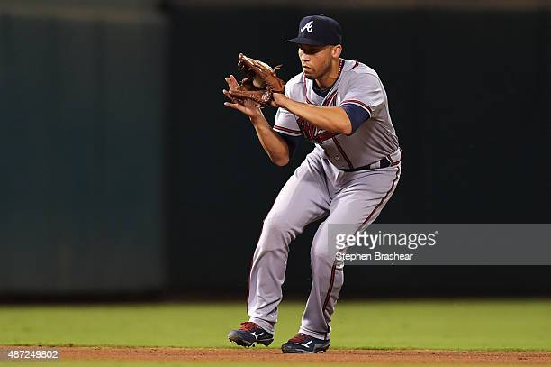 Andrelton Simmons of the Atlanta Braves fields a ground ball in the seventh inning against the Philadelphia Phillies at Citizens Bank Park on...