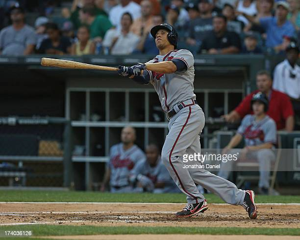 Andrelton Simmons of the Atlanta Braves hits a tworun home run in the 2nd inning against the Chicago White Sox at US Cellular Field on July 19 2013...