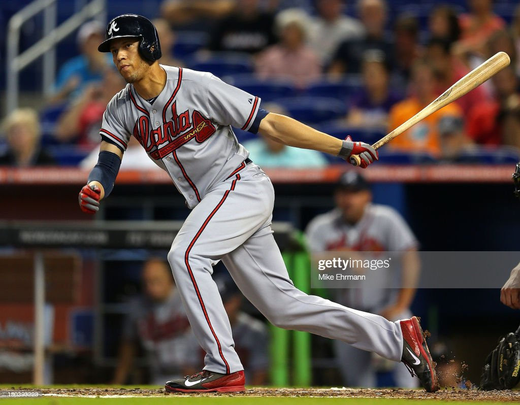 <a gi-track='captionPersonalityLinkClicked' href=/galleries/search?phrase=Andrelton+Simmons&family=editorial&specificpeople=8978424 ng-click='$event.stopPropagation()'>Andrelton Simmons</a> #19 of the Atlanta Braves hits during a game against the Miami Marlins at Marlins Park on September 12, 2013 in Miami, Florida.