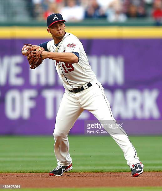 Andrelton Simmons of the Atlanta Braves in action against the New York Mets during the Braves opening series at Turner Field on April 12 2015 in...