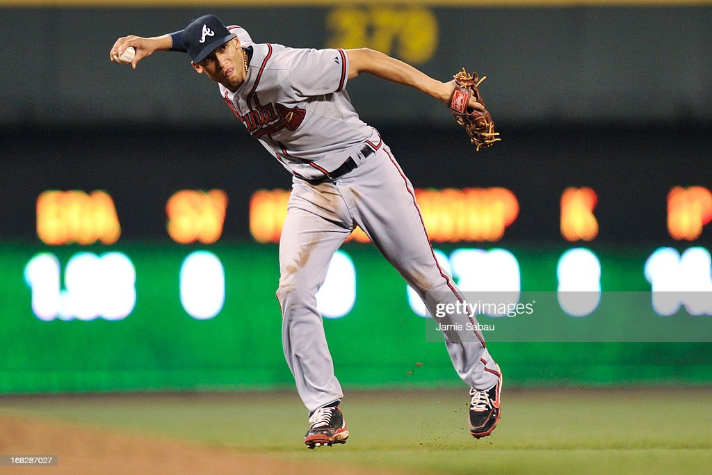 <a gi-track='captionPersonalityLinkClicked' href=/galleries/search?phrase=Andrelton+Simmons&family=editorial&specificpeople=8978424 ng-click='$event.stopPropagation()'>Andrelton Simmons</a> #19 of the Atlanta Braves throws out <a gi-track='captionPersonalityLinkClicked' href=/galleries/search?phrase=Shin-Soo+Choo&family=editorial&specificpeople=196543 ng-click='$event.stopPropagation()'>Shin-Soo Choo</a> #17 of the Cincinnati Reds in the eighth inning at Great American Ball Park on May 7, 2013 in Cincinnati, Ohio. Cincinnati defeated Atlanta 5-4.