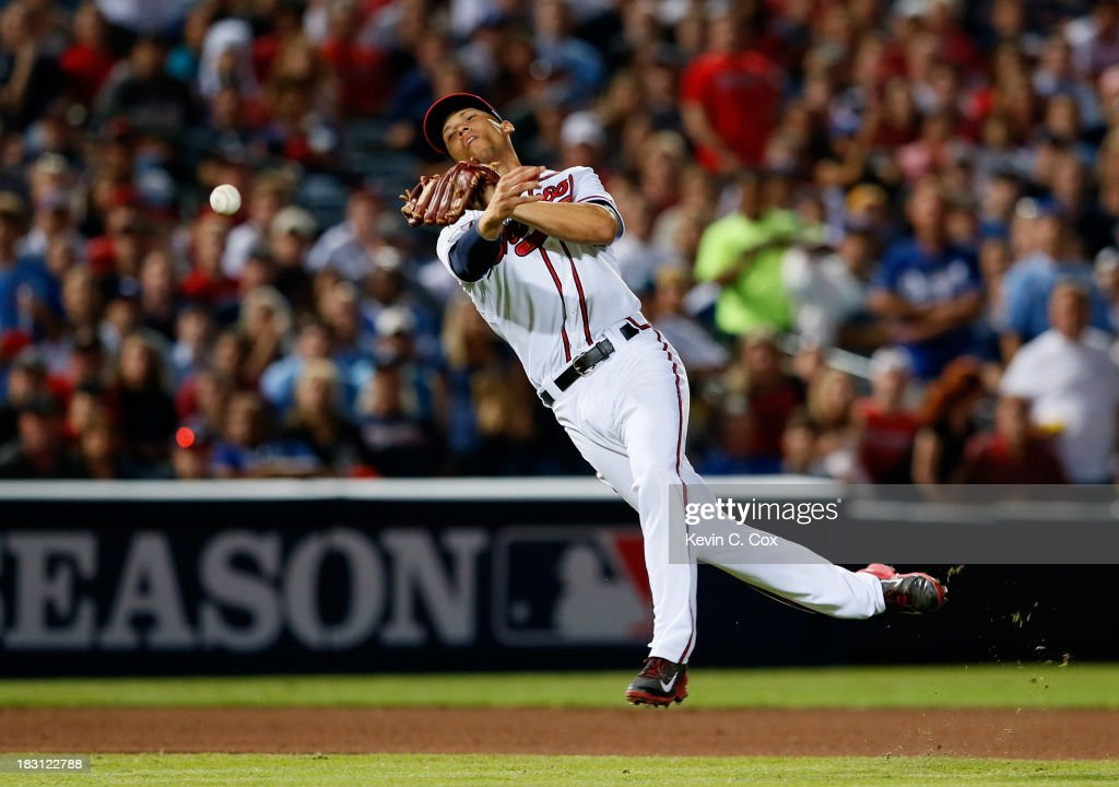 <a gi-track='captionPersonalityLinkClicked' href=/galleries/search?phrase=Andrelton+Simmons&family=editorial&specificpeople=8978424 ng-click='$event.stopPropagation()'>Andrelton Simmons</a> #19 of the Atlanta Braves throws to first in the seventh inning against the Los Angeles Dodgers during Game Two of the National League Division Series at Turner Field on October 4, 2013 in Atlanta, Georgia.