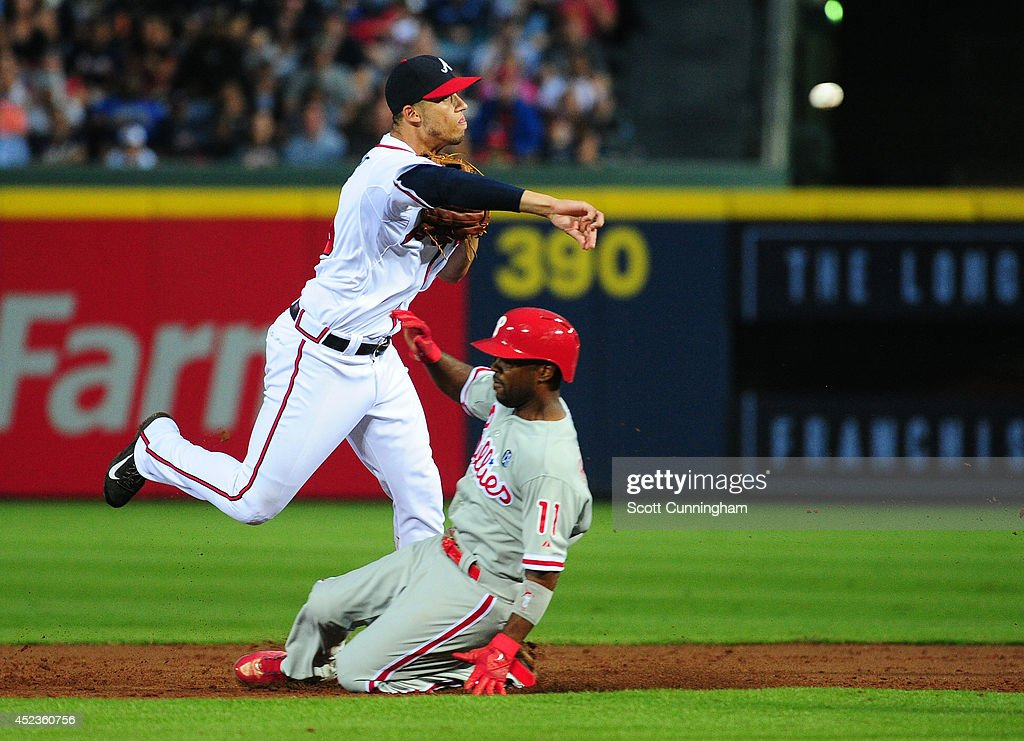 <a gi-track='captionPersonalityLinkClicked' href=/galleries/search?phrase=Andrelton+Simmons&family=editorial&specificpeople=8978424 ng-click='$event.stopPropagation()'>Andrelton Simmons</a> #19 of the Atlanta Braves turns a third inning double play against <a gi-track='captionPersonalityLinkClicked' href=/galleries/search?phrase=Jimmy+Rollins&family=editorial&specificpeople=204478 ng-click='$event.stopPropagation()'>Jimmy Rollins</a> #11 of the Philadelphia Phillies at Turner Field on July 18, 2014 in Atlanta, Georgia.