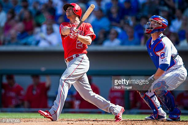 Andrelton Simmons of the Los Angeles Angels bats during a spring training game against the Chicago Cubs at Sloan Park on March 4 2016 in Mesa Arizona