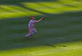 Andrelton Simmons of the Los Angeles Angels makes an over the shoulder catch during the game against the Baltimore Orioles at Oriole Park at Camden...