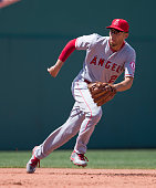 Andrelton Simmons of the Los Angeles Angels of Anaheim runs down a ground ball during the game against the Boston Red Sox at Fenway Park on July 3...