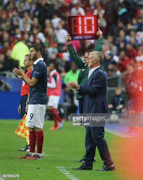 AndrePierre Gignac and Didier Deschamps of France during the International Friendly Soccer match between France and Portugal at Stade de France on...