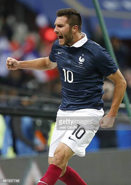 AndrePierre Gignac of France celebrates his goal during the international friendly match between France and Germany at Stade de France on November 13...