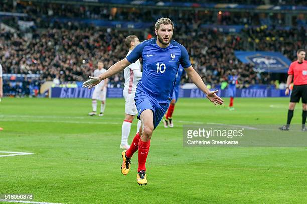 AndrePierre Gignac of France celebrates his goal during the international friendly game between France and Russia at Stade de France on March 29 2016...