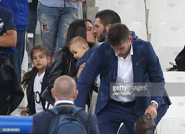 AndrePierre Gignac of France meets his girlfriend and their children his son Eden Gignac and his daughter Grace Gignac after the UEFA EURO 2016 Group...