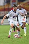 AndrePierre Gignac of Marseille in action during the French Ligue 1 match between Olympique de Marseille and OGC Nice at Stade Velodrome on August 29...
