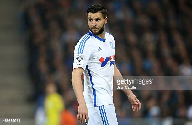 AndrePierre Gignac of OM looks on during the French Ligue 1 match between Olympique de Marseille and Paris SaintGermain at New Stade Velodrome on...